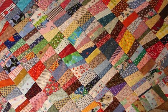 Colorful Cotton, Calico Scrap Quilt Top