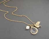 Gold Crystal Briolette with Dove and Pearl