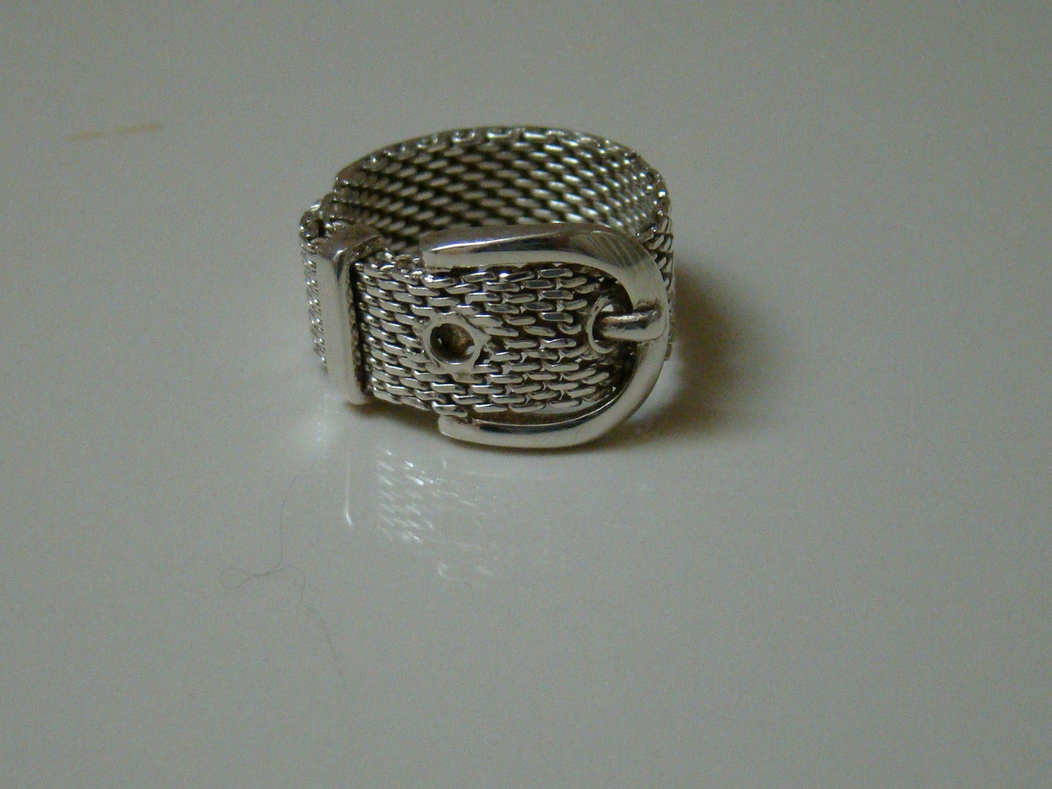 mesh belt buckle ring sterling silver 925 size 7
