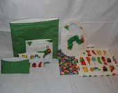 Complete Very Hungry Caterpillar baby gift set- Bib, burp cloths, reusable bags, large waterproof wet bag