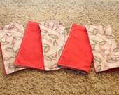 FIVE Cloth Napkins--Kid Size--White Baseball