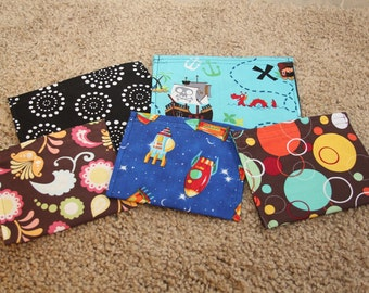 10 Reusable Sandwich and Snack Bags--You Pick the Sizes and Fabrics--GREAT GIFT