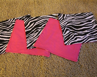 FIVE Cloth Napkins--Kid Size--Zebra and Hot Pink