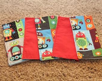 FIVE Cloth Napkins--Kid Size--Robots
