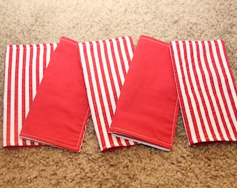 FIVE Cloth Napkins--Kid Size--Red and White Stripes
