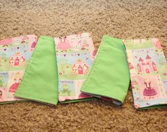 FIVE Cloth Napkins--Kid Size--Princess