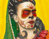 Frida Kahlo day of the dead print, 9x12