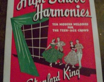 High School Harmonies, vintage sheet music 1950, Stanford King