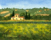 Italy sunflower field original ACEO watercolor painting