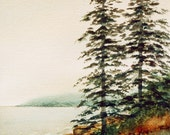 Acadia Mist on Water with trees Maine Original watercolor
