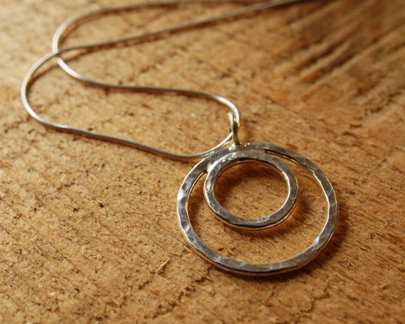 hammered small sterling silver circle inside a larger circle pendant necklace, ildiko jewelry