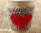 HEART Cup Cozy, Crochet Coffee Sleeve , Valentines gift by The Cozy Project