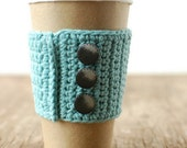 Coffee Cup Cozy, Aqua with silver buttons by The Cozy Project