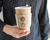 Coffee cup cozy, Natural beige nude color with natural buttons by The Cozy Project
