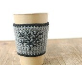 Coffee Cup Cozy, Crochet Coffee Sleeve, Reusable Coffee Cozy with black tree by The Cozy Project