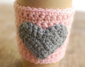 Heart Coffee Cup Cozy, Crochet Coffee Sleeve, Reusable Coffee Cozy, Valentines Cozy, Pink with Gray Heart by The Cozy Project