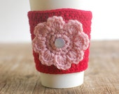 Coffee sleeve cup cozy with pink flower by the Cozy Project