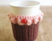 Cupcake Coffee Cozy, Reusable Coffee Cup Cozy, Crochet Coffee Sleeve