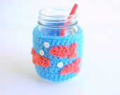 Mason Jar Cozy, Coffee Cup Cozy, Crochet Coffee Sleeve, Reusable Coffee Cozy with Goldfish  by The Cozy Project