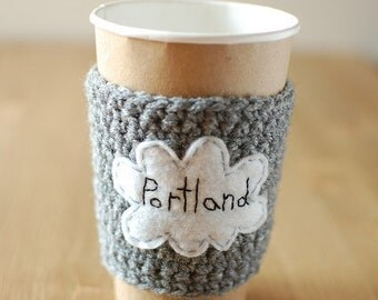Portland Cup Cozy, Crochet Coffee Sleeve, Reusable Coffee Cozy, Rain Cloud Coffee Cozy by The Cozy Project