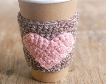 Heart Crochet Coffee Cozy, Coffee Cozy, Cup sleeve by The Cozy Project