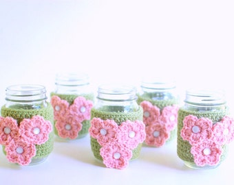 Mason Jar cozies with pink flowers, set of 5
