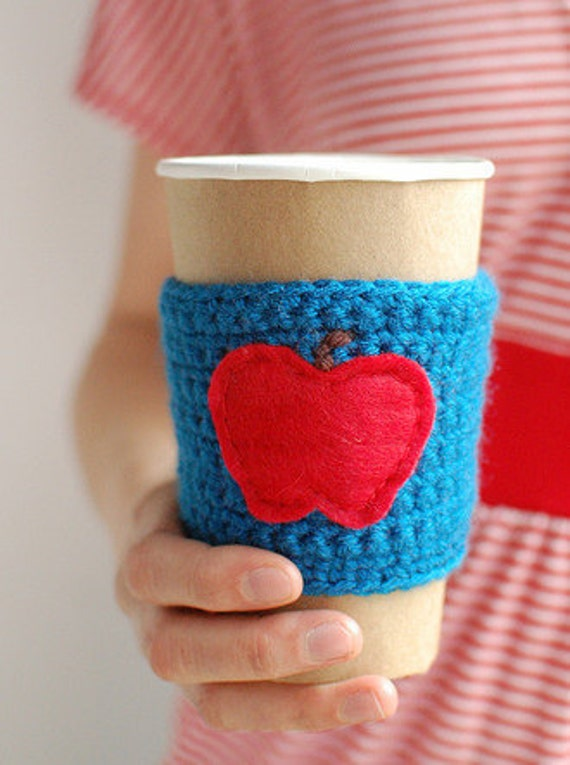 Coffee cup cozy, Coffee Cup Sleeve, Knit cup cozy, Teacher coffee cup cozy BLUE with red apple by The Cozy Project