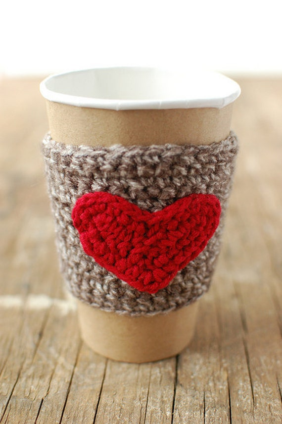 HEART Cup Cozy, Crochet Coffee Sleeve , Valentines gift by The Cozy ...