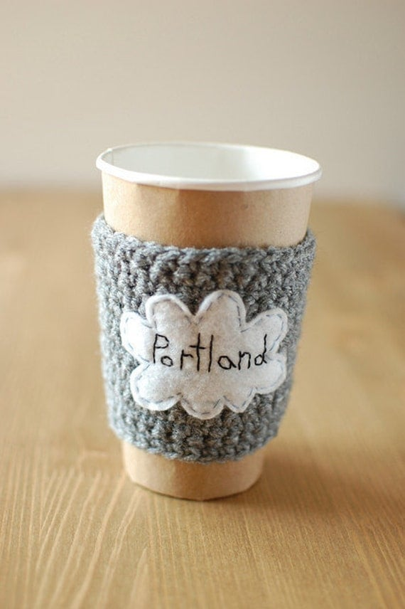 Portland Cup Cozy, Crochet Coffee Sleeve, Reusable Coffee Cozy, Rain Cloud Coffee Cozy by The Cozy Project