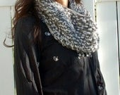 Hand Knit Chunky Knit Cowl Neck Scarf - Gray Sequin