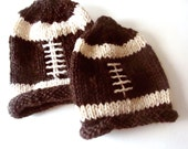 Hand Knit Chunky Baby Football Hat ready to ship