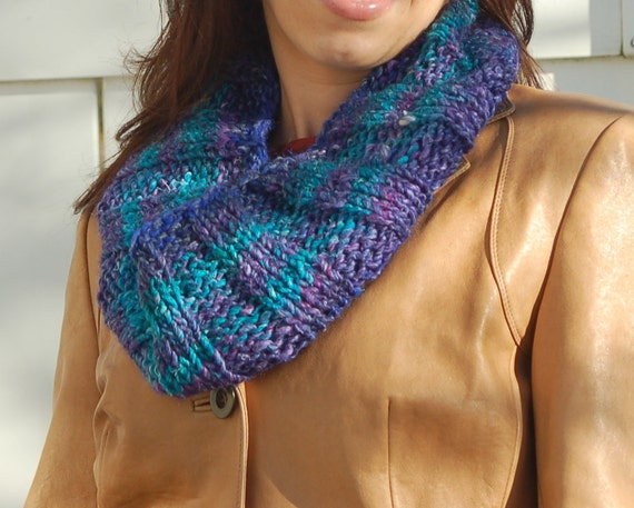 Hand Knit Silk/Wool Cowl Scarf-Spring-Ready To Ship