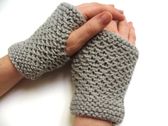 Fingerless Gloves-Hand Knit Hand Warmers in Gray