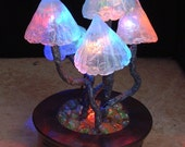 Magnificent Mushroom Lamp - Rainbow colour change leds - Mushrooms with bendy stems growing from shattered marbles. USB / mains powered