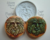 Green Man Flexible Silicone Mold / Mould 50mm Cupcake Topper, Sweet, Dessert, Craft ( Candy, Food, Chocolate, Sugar Paste, Fimo )