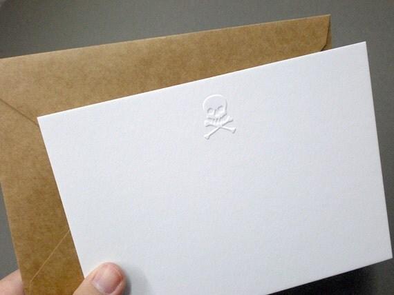 Embossed A6 skull notecards with kraft envelopes - Bright White PACK OF 6
