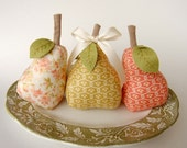 SALE Trio of Home Decor Pears - Buttercup Fabrics by Moda - Hostess Gift - Valentine's Day