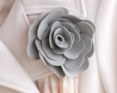 Lapel or Purse Pin - Grey Gray - Rose - IN STOCK - teen gift - gift for her