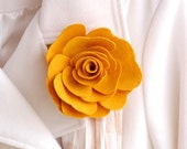 Lapel or Purse Pin - Mustard - Rose - IN STOCK - teen gift - gift for her