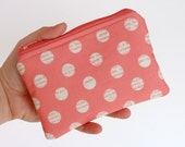 Reserved for caaseldna - CLEARANCE Sale - iPhone or Gadget Case - Change Purse Coin Pouch Lost and Found Dots Pink Riley Blake