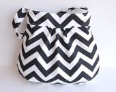 SALE Custom Chevron Gathered Hobo Purse - Choose Your Lining Fabric - Black and White - MADE to ORDER - Crossbody Adjustable Strap Option