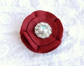 Rhinestone Rosette Brooch - Purse or Lapel Pin - Crimson, Iridescent Jewel
