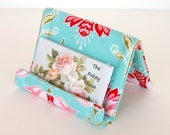 Reserved for moemoe2000 - Desktop Business Card Display and Key Fob - Riley Blake, Apple of My Eye, Floral in Blue