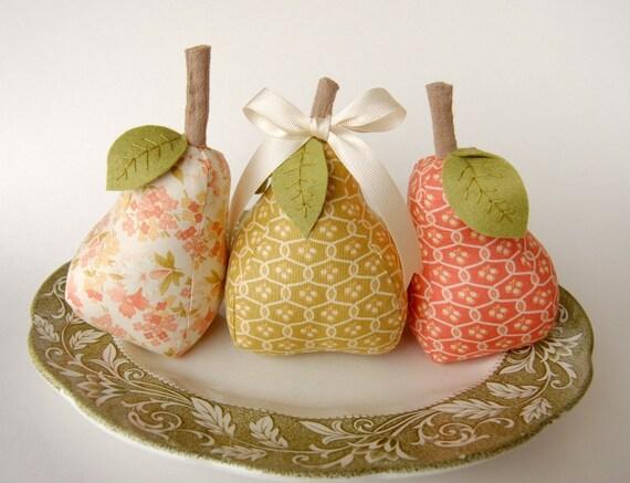 SALE Trio of Home Decor Pears - Buttercup Fabrics by Moda - Hostess Gift - Valentine's Day
