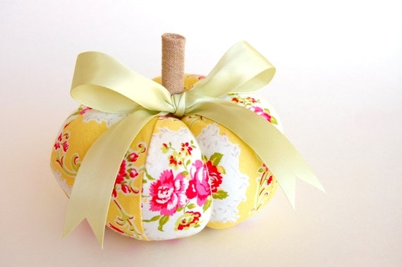 A Yellow and Pink Pincushion Pumpkin - Jennifer Paganelli Dance WIth Me in Yellow - Medium