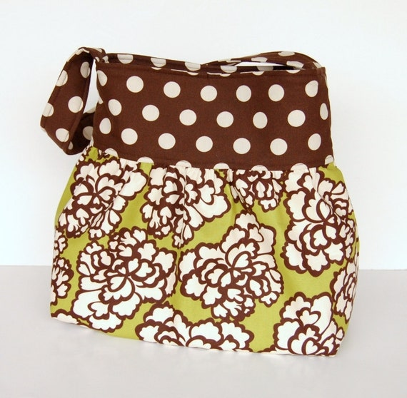Summer SALE Gathered Hobo Purse - Shoulder Bag - IN STOCK - Lime Green and Chocolate Brown Floral - The Pokey Rose