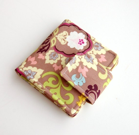 Mini Wallet - Wristlet Option - Art Gallery Fabrics Paradise Collection Taupe Double Bloom - IN STOCK