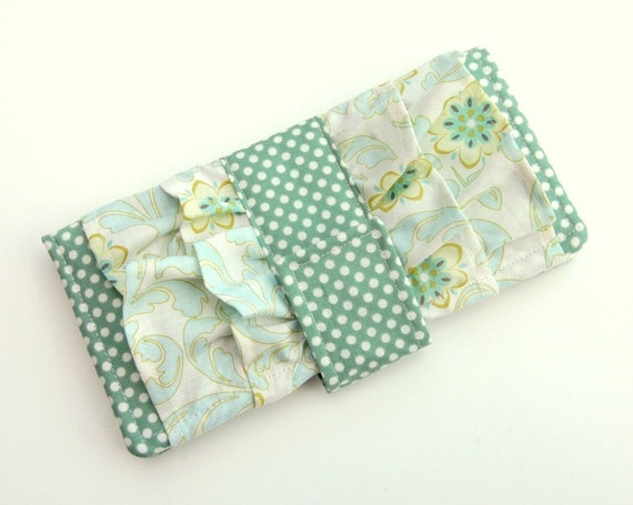 Sweet Ruffle Wallet - Smart Phone Clutch - Verona Damask and Dots in Teal Riley Blake - Wristlet Option