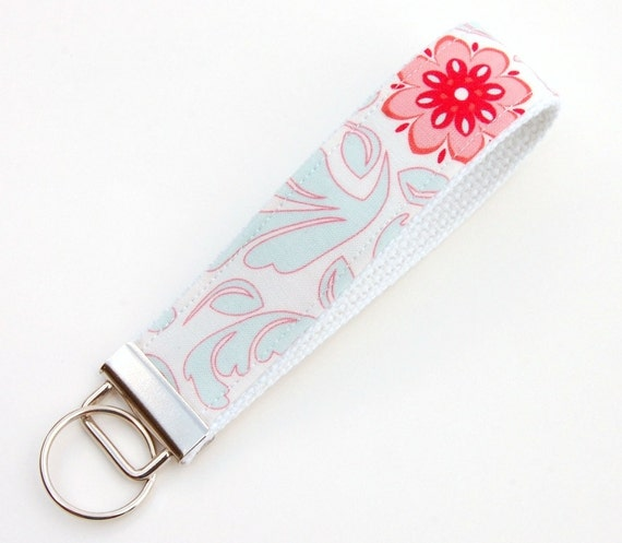 Aqua Swirl Key Fob - Damask in Rouge, Verona, Riley Blake - Matching Zip Pouch Available