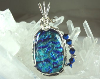 Azure Blue with Silvery Sparkles Dichroic Glass Pendant